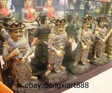 "37"" Chinese Bronze Cloisonne 24K Gold Four Heaven Sky Divine Troops Sculpture"