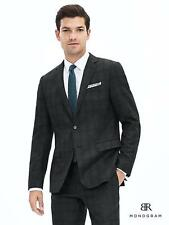 Banana Republic BR Monogram Plaid Italian Wool Suit Jacket,Dark charcoal SZ 44R
