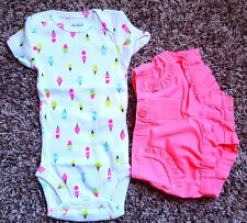 Girl's Size NB Newborn 2 Pc Carter's Popsicle NWOT Top & Garanimals Pink Shorts