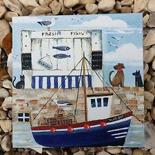 Nautical Seaside Fishing Harbour  - Dog Cat Boat Gull Wooden Picture Plaque
