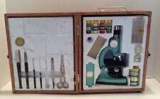 Vintage TascoDeluxe HIGH QUALITY ZOOM MICROSCOPE #972 750 POWER KIT w/Wood Box