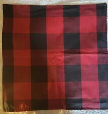 "NEW! Pottery Barn BUFFALO Check Pillow Cover 24"" sq. Red Farmhouse"