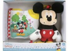 New listing Disney Mickey Mouse Plush Stroller Crib Attach Book Gift Set Teether Baby Shower