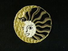 #3303 Gold/Brown Pagan Astrology Sun Moon Embroidery Applique Patch