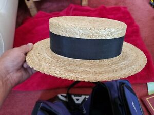 OLNEY TRADITIONAL STRAW BOATER HAT, SIZE 55 (6 3/4) GREAT CONDITION