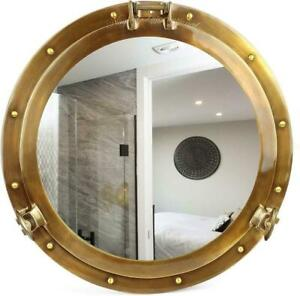 "Vintage old age premium antique 20"" brass nautical ship's porthole mirror decor"