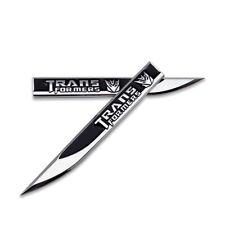 Pair Black Transformers Decepticons Logo Emblem Blade Badge Metal Sticker Decal
