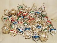 Huge Lot Of 50+ Vintage Beaded Handmade Pushpin Christmas Ball Ornaments