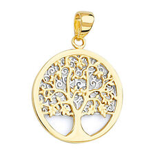 14k Two-tone Gold Round Tree of Life Pendant