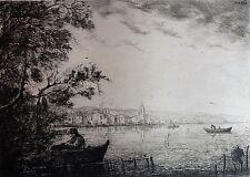Eau forte originale de Gabriel, En Provence, Marine