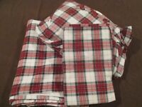 TWIN SIZE Red Plaid Flannel Sheets JCPENNEY HOME 3 Piece Fitted Flat Pillowcase