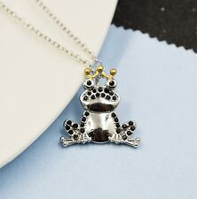 FREE GIFT BAG Silver Plated Frog Prince Fairy Tale Toad Necklace Chain Birthday