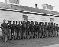 1864 Civil War BLACK SOLDIERS TROOPS Vintage 8x10 Photo Union Military Print