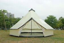 5M Bell Tent Zipped-in-Ground sheet Tent Family 10 Person Camping Tent Beige