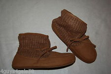 Womens Slippers CHETNUT BROWN High Top Bootie MOCK SUEDE LOWER Knit Upper M 7-8