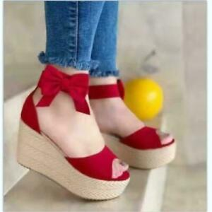 Womens Platform Wedge Espadrille Sandals Ankle Strap Open Toe Bowknot High Heels