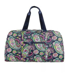 VERA BRADLEY*Collapsible Duffel*PETAL PAISLEY*NEW*Navy Blue,Pink & Green*