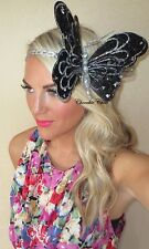 Enorme Nero Argento Glitter Big Butterfly treccia capelli Head Band Choochie Choo Party