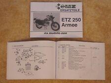 Ersatzteilliste MZ ETZ 250 A Armee auch ETZ 250 Zivil NEU NVA 1. Auflage 1984
