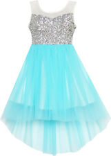 Sunny Fashion Girls Dress Sequin Mesh Party Wedding Princess Tulle Blue 7-14 12