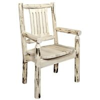 Amish Log Captain Chair Lodge Cabin Chair with Arms Rustic Dining Furniture