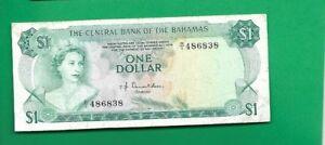 BAHAMAS BANKNOTE $1, 1974 YEAR