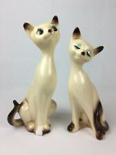 Mid Century Modern Loving Siamese Cat Figurine Pair One Big Chip on Paw & Ear