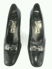 Salvatore Ferragamo Pumps Calf Leather Black Career Shoes US 9 M EU 39-40
