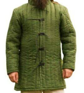 Green Color Gambeson Full Sleeves Medieval Viking Jacket Renaissance Reenactment