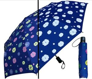 RainStoppers Women Umbrella Navy 44 in. Auto Open Color Changing Flower Print