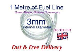 3mm id CLEAR PETROL OIL FUEL PIPE HOSE LINE. -* 1 Metre Length