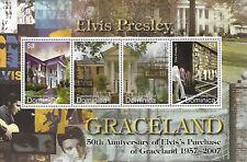 Elvis Presley $3 Dominica Souvenir Stamp Sheet 4 Stamps Graceland 50th Anniversa