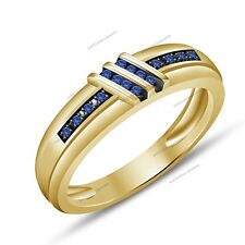 Women's Wedding Band 0.30Ct Blue Sapphire 925 Silver Coated With Yellow Gold Fn