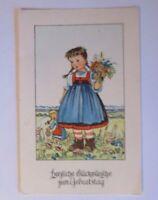 Geburtstag, Kinder, Mode, Blumen, Puppe, 1930, Scherbauerkarte ♥ (40952)