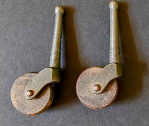Set of 2 Matching Vintage Antique Furniture Metal and Wood Caster Wheels