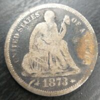 1873 S Seated Liberty Silver Dime- VG Very Good or Fine F Details Env. damage