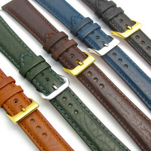 'Verona' Leather Watch Band Padded Camel Grain 5 Colours sizes 16mm - 24mm D011