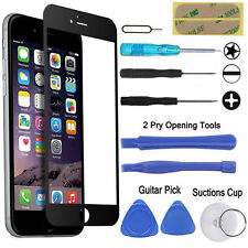 BLACK FRONT GLASS SCREEN REPLACEMENT TOOL KIT & SCREWDRIVER SET FOR IPHONE 6/6S
