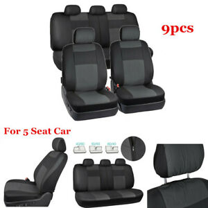 Black/Gray Luxury Leather Full Seat Cover Cushions Protector Set Fit 5 Seat Car