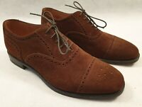 Loake Somerton Brown Suede Brogue Shoes with Shoe Trees UK 8 EUR 42 RRP £165