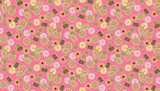 Fat Quarter Tea Party Biscuits Pink 100% Cotton Quilting Fabric Makower 1646P