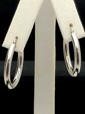 """14k White Gold Hollow Round Hoop Loop Earrings 1"""" 3mm 2.1 grams"""