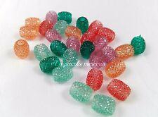 20 perle resina 15 x 12 mm foro largo 5,1 mm colori misti fettuccia caucciù