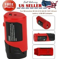 For Milwaukee 49-24-2310 48-59-1201 M12 Battery USB-Charger Adapt Power Sources