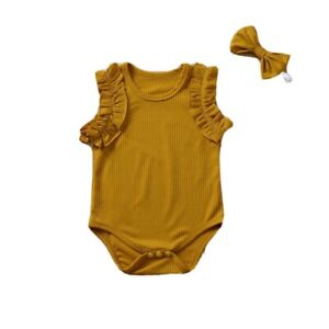 Toddler Baby Girl Sleeveless Romper Top with Headband 💥 Fast Free Shipping💥