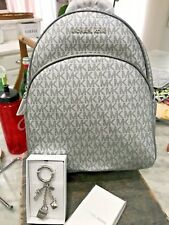 Michael Kors Abbey Medium Signature Backpack In SILVER PVC with gift ! Msrp $348