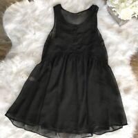 Express - Size S/P - Women's Black Tunic Sheer Lined Dress Sleeveless 1/2 Button