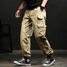 Mens Casual Straight Military Trousers Loose Sport Multi-pocket Overalls Hip Hop