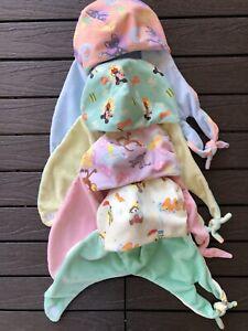 Disney Baby Infant Soft Beanie Hats Caps w/ Ear & lovey straps Lot of 4