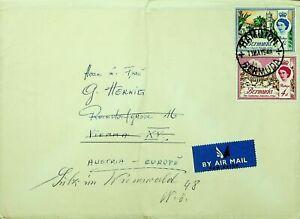 BERMUDA 1948 POST WWII QE II 2v ON COVER HAMILTON TO AUSTRIA